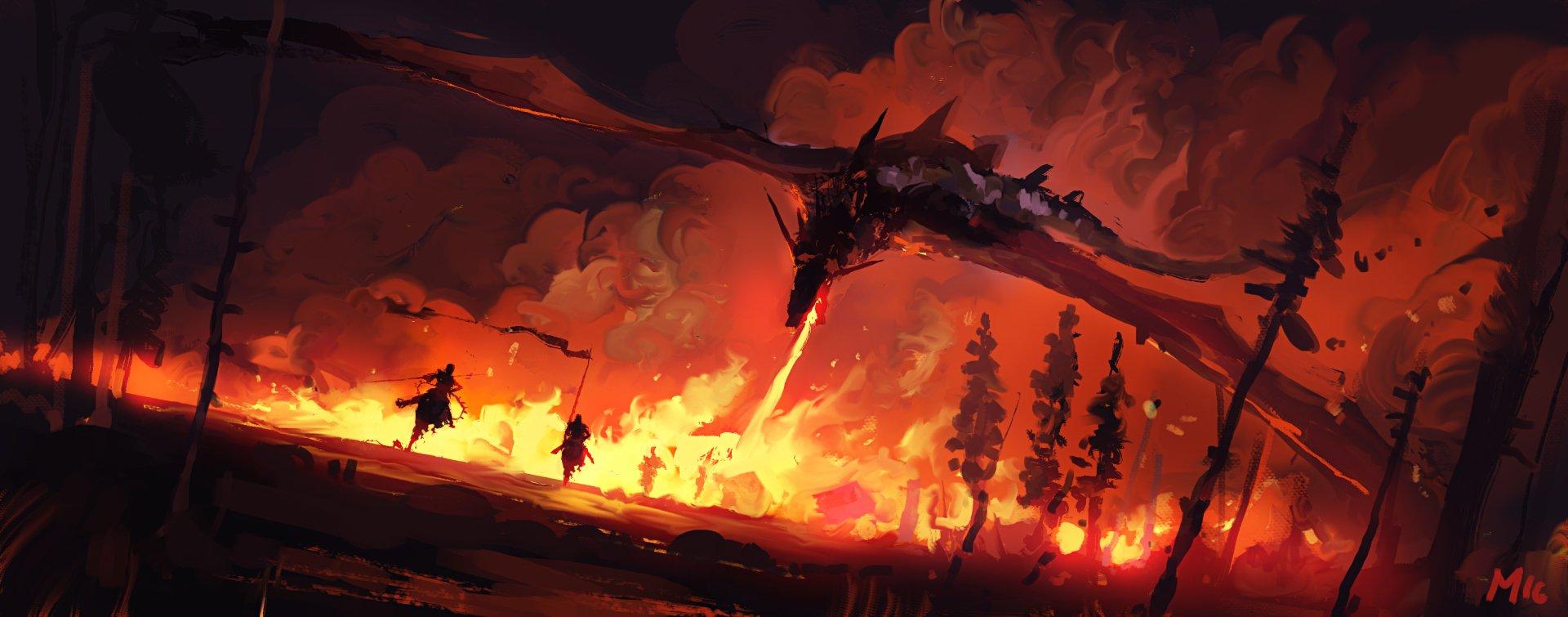 Fantasy - Dragon  Warrior Fire Wallpaper