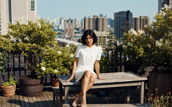 Celebrity Elodie Yung Actresses France Actress White Dress Depth Of Field Brunette French Lipstick Short Hair HD Wallpaper | Background Image