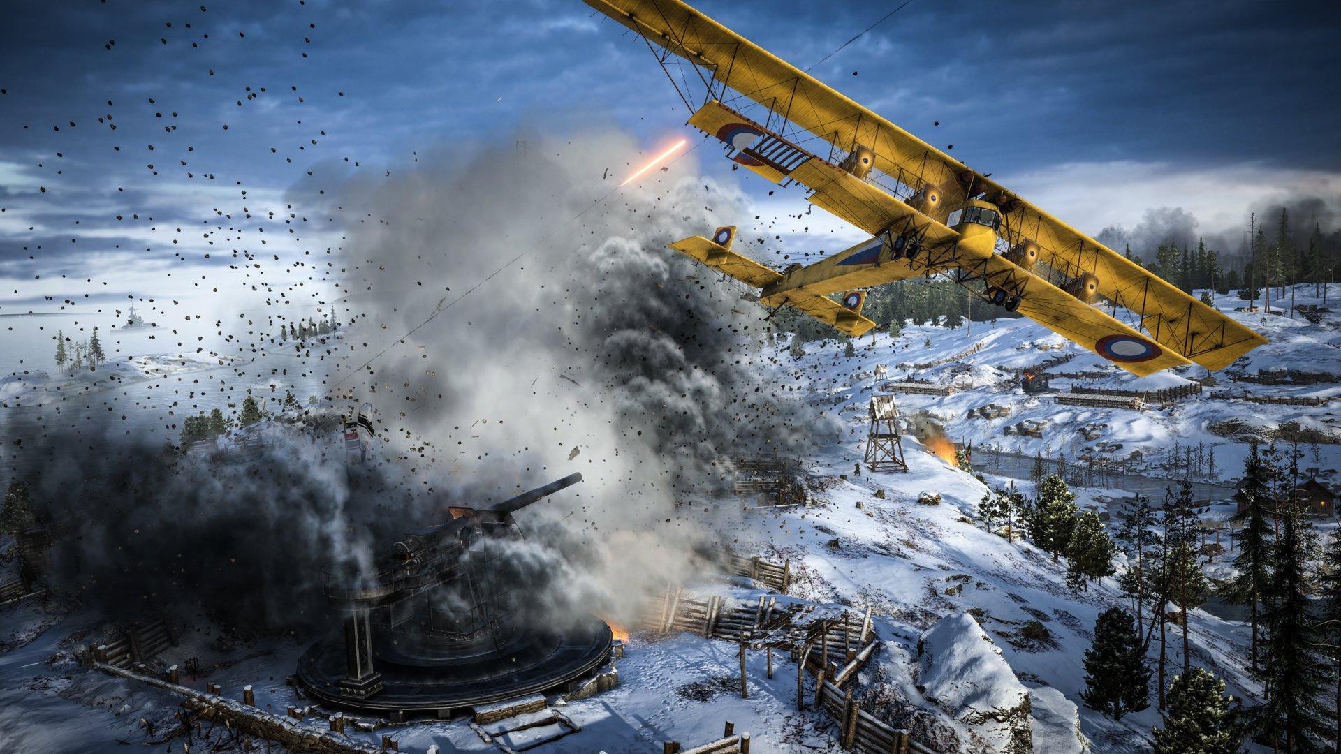 Video Game - Battlefield 1  Aircraft Warplane Winter Artillery Battle Wallpaper