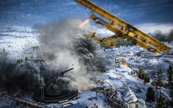 Video Game Battlefield 1 Battlefield Aircraft Warplane Winter Artillery Battle HD Wallpaper   Background Image