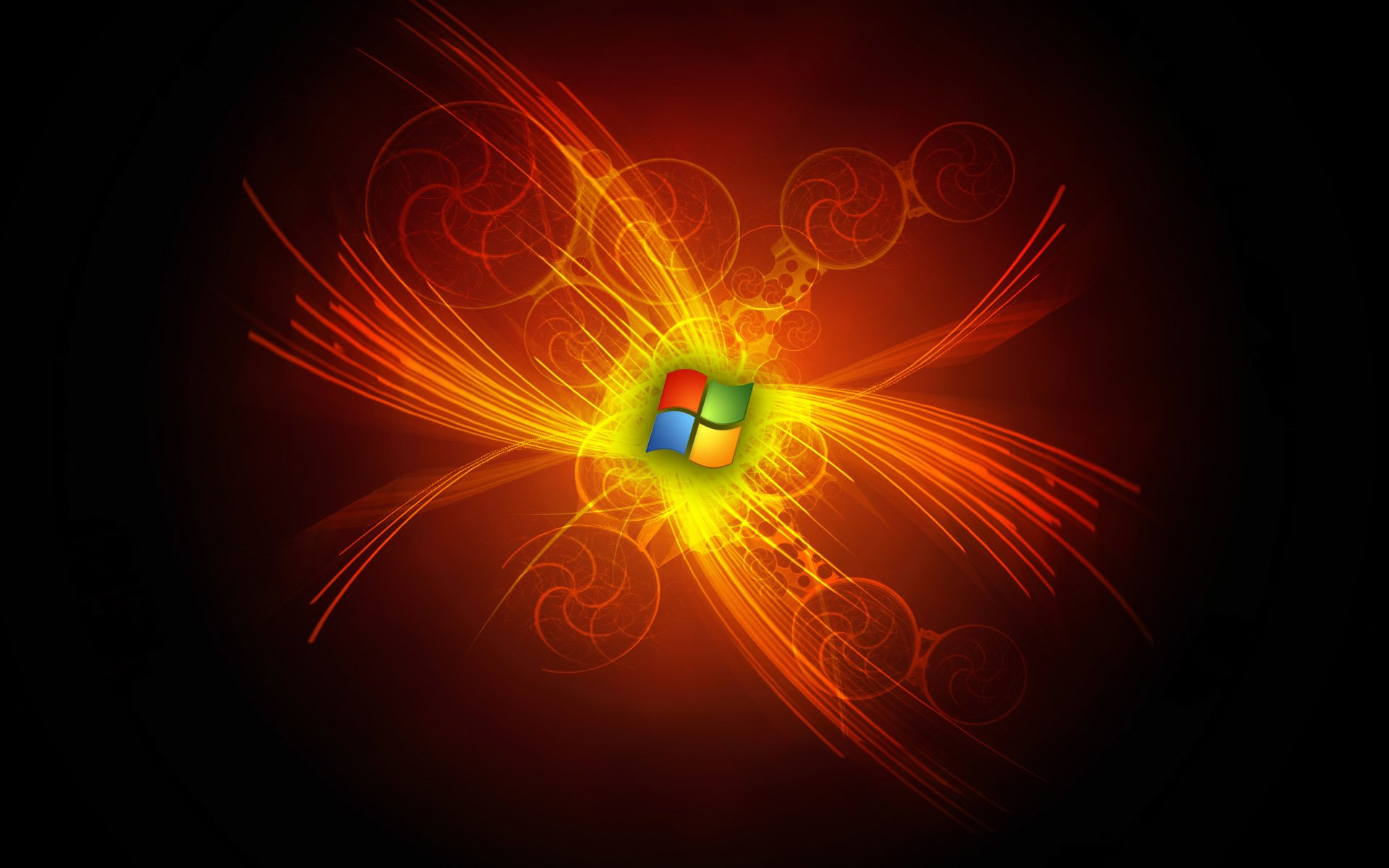 Technologie - Windows  Abstrait Microsoft Logo Windows 7 Feu Flamme Fond d'écran