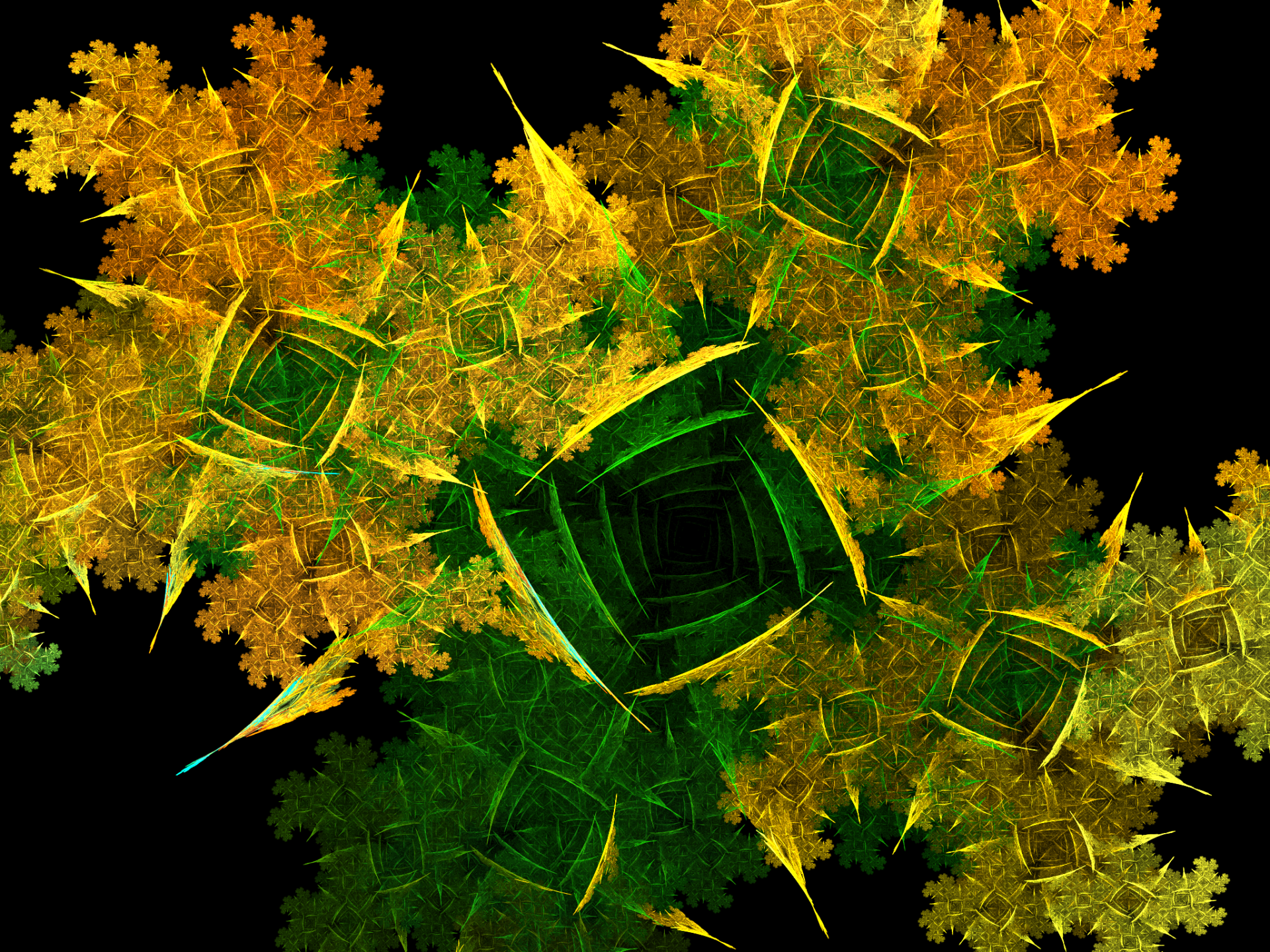 Abstract - Fractal  Abstract Apophysis (software) Green Orange Geometry Square Wallpaper