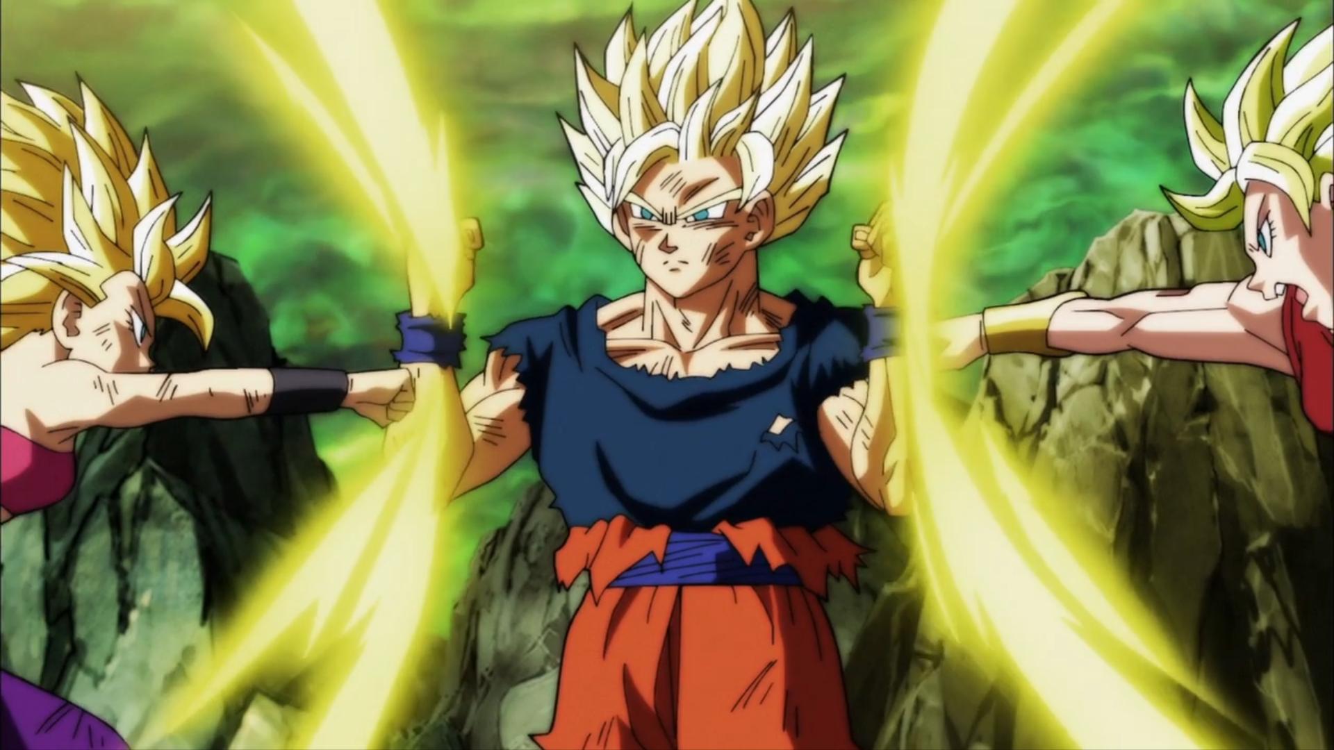 Son Goku Vs Caulifla And Kale Hd Wallpaper Background Image