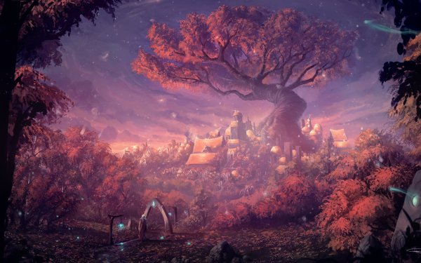 Fantasía Ciudad Bosque Árbol Fondo de pantalla HD   Fondo de Escritorio