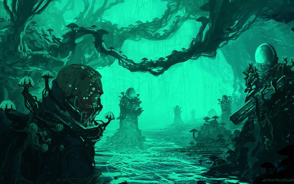 Sci Fi Warrior Weapon Swamp Mushroom Space Suit HD Wallpaper | Background Image