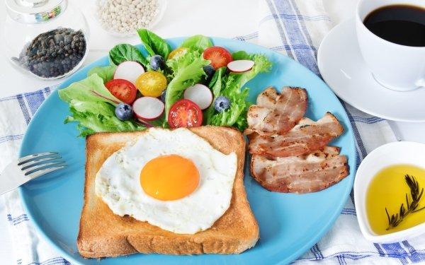 Alimento Desayuno Huevo Toast Bacon Café Cup Bodegón Fondo de pantalla HD | Fondo de Escritorio