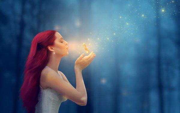 Fantasy Women Woman Girl Red Hair Long Hair Magic Seahorse HD Wallpaper | Background Image