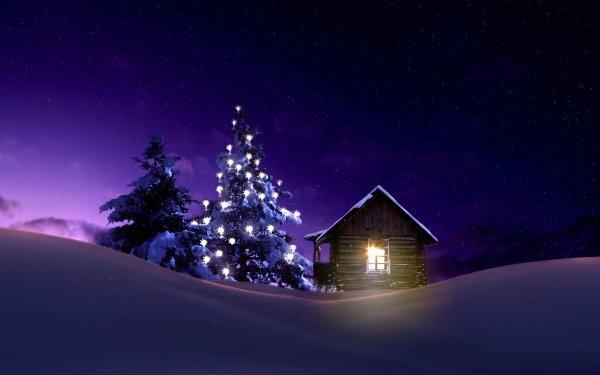 Día festivo Navidad Árbol Luz Noche Cabaña Invierno Snow Fondo de pantalla HD | Fondo de Escritorio