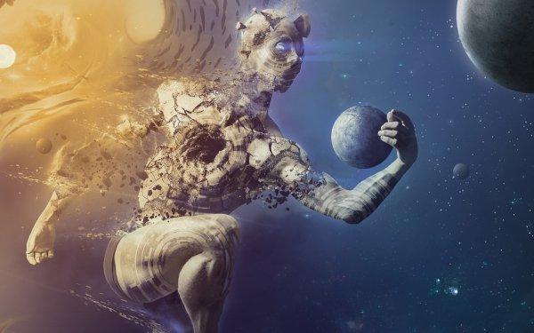 Sci Fi Men Space Man Planet HD Wallpaper | Background Image