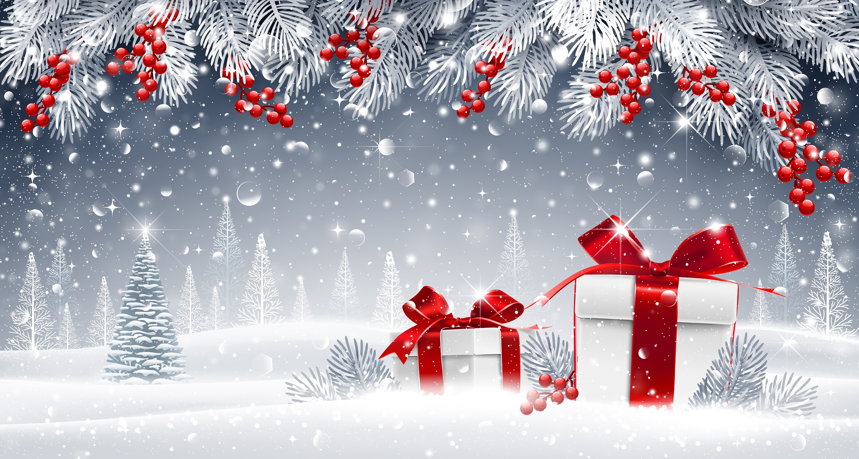 Red Christmas Background With Xmas Tree And Gifts: Christmas HD Wallpaper