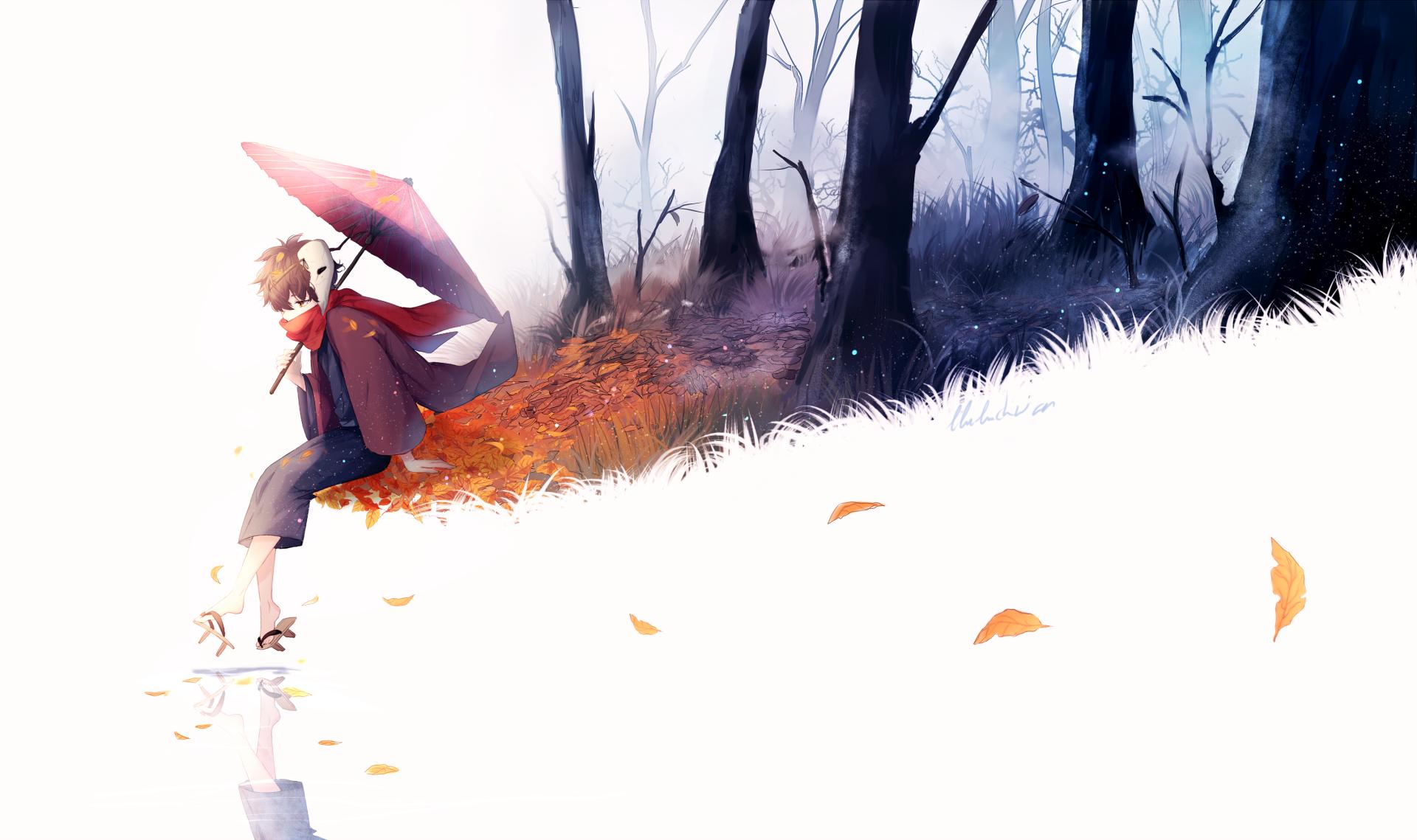 Anime - Original  Umbrella Leaf Tree Wallpaper