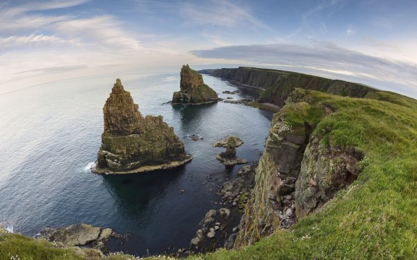 Earth Coastline Coast Ocean Sea Cliff Scotland Horizon Fisheye HD Wallpaper | Background Image