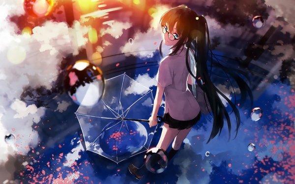 Anime Original Umbrella Bubble Blue Eyes Long Hair Glasses HD Wallpaper | Background Image
