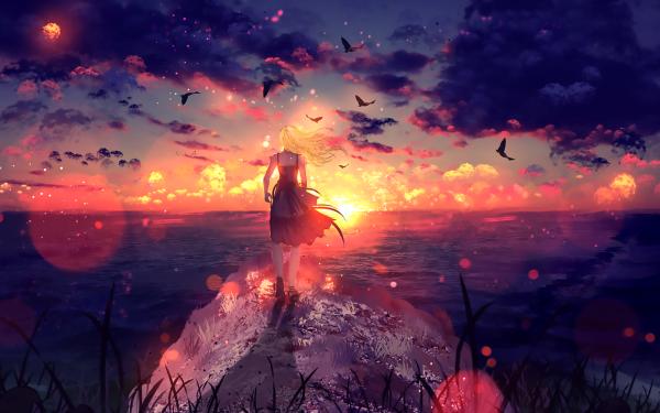 Anime Original Blonde Sunset Bird Sky Cloud HD Wallpaper   Background Image