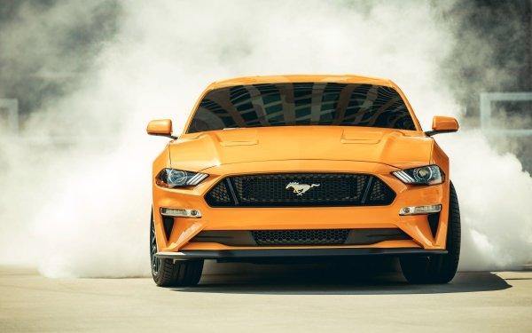 Véhicules Ford Mustang GT Ford Ford Mustang Voiture Muscle Car Fumée Orange Car Burnout Fond d'écran HD | Arrière-Plan