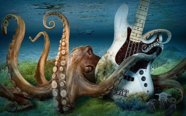 Animal CGI 3D Guitar Octopus Tentacle Shark Ocean HD Wallpaper | Background Image