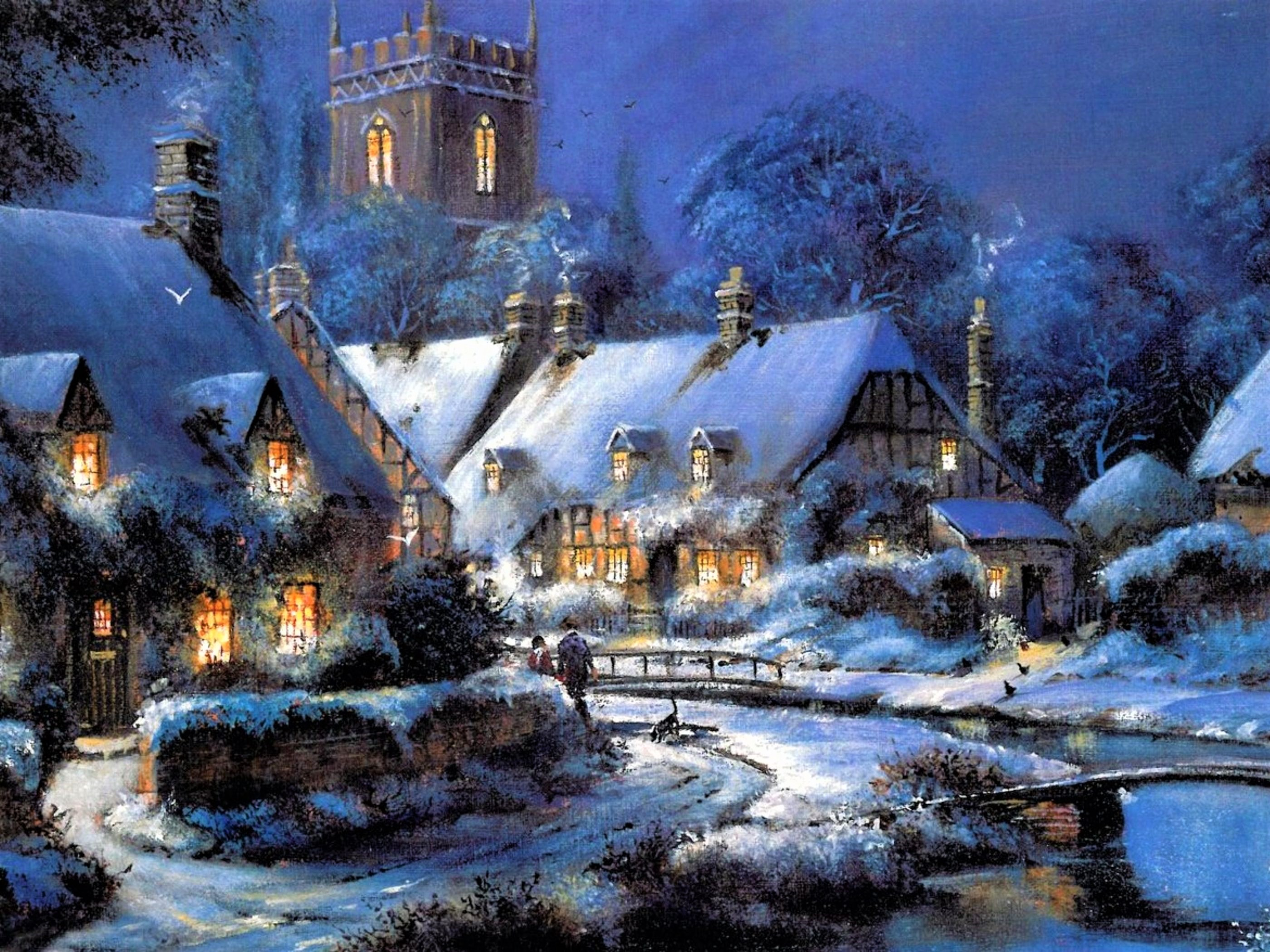 Winter village hd wallpaper background image 2800x2100 for Sfondi natalizi 1920x1080