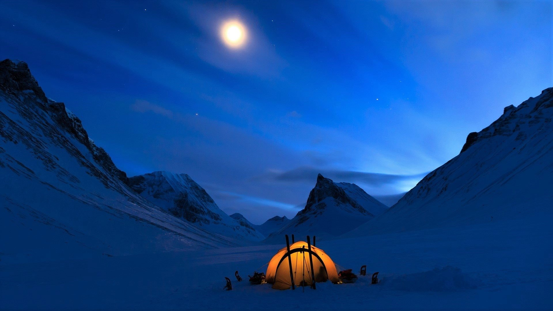 Winter Camping HD Wallpaper | Background Image | 1920x1080 ...
