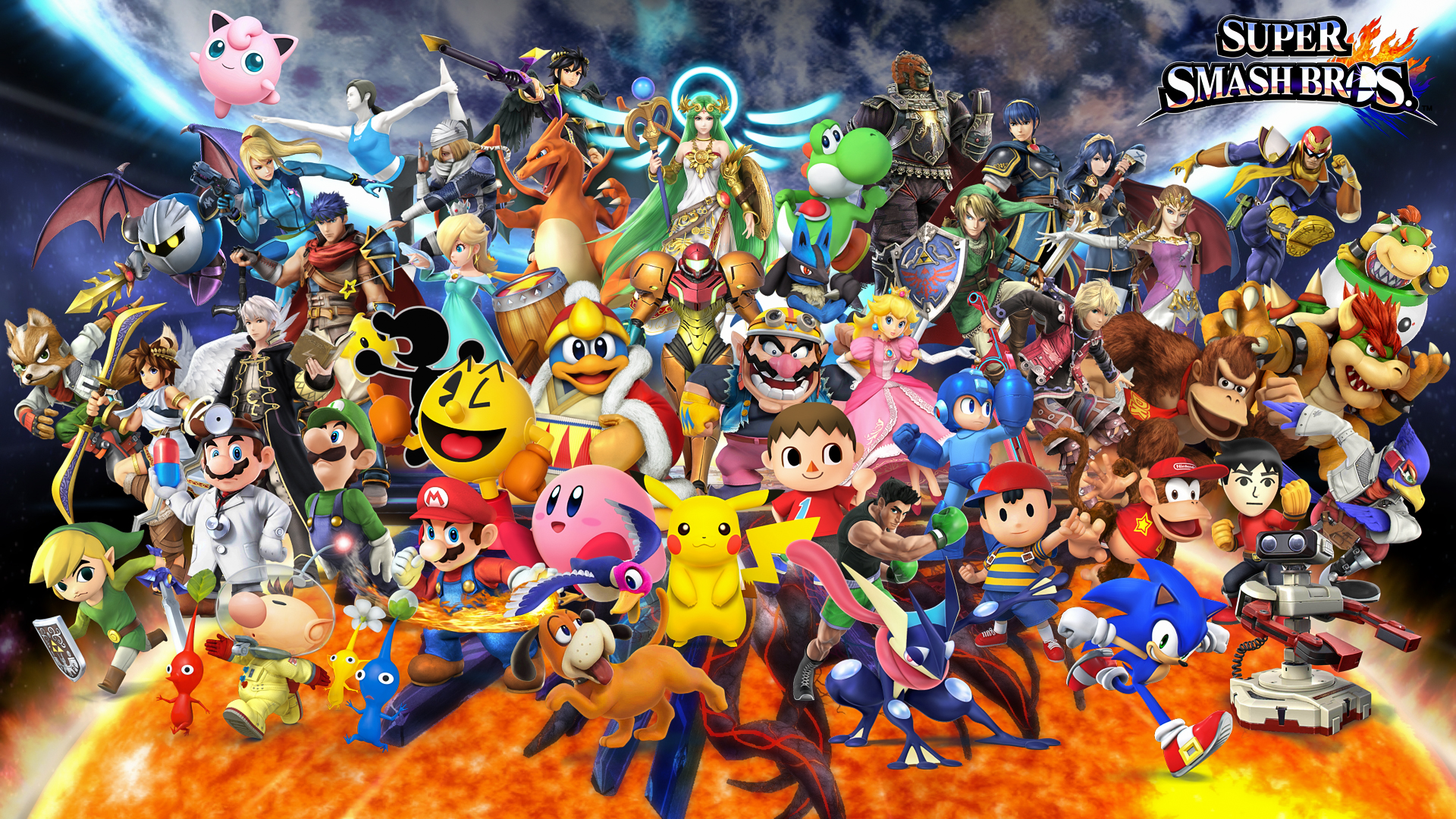 Video Game - Super Smash Bros. for Nintendo 3DS and Wii U  Mario Luigi Princess Peach Bowser Link Zelda Ganondorf Sheik (The Legend of Zelda) Toon Link Mega Man Sonic the Hedgehog Pokémon Greninja (Pokémon) Pikachu Star Fox Super Mario The Legend of Zelda Metroid Charizard (Pokémon) Jigglypuff (Pokémon) Lucario (Pokémon) Wallpaper