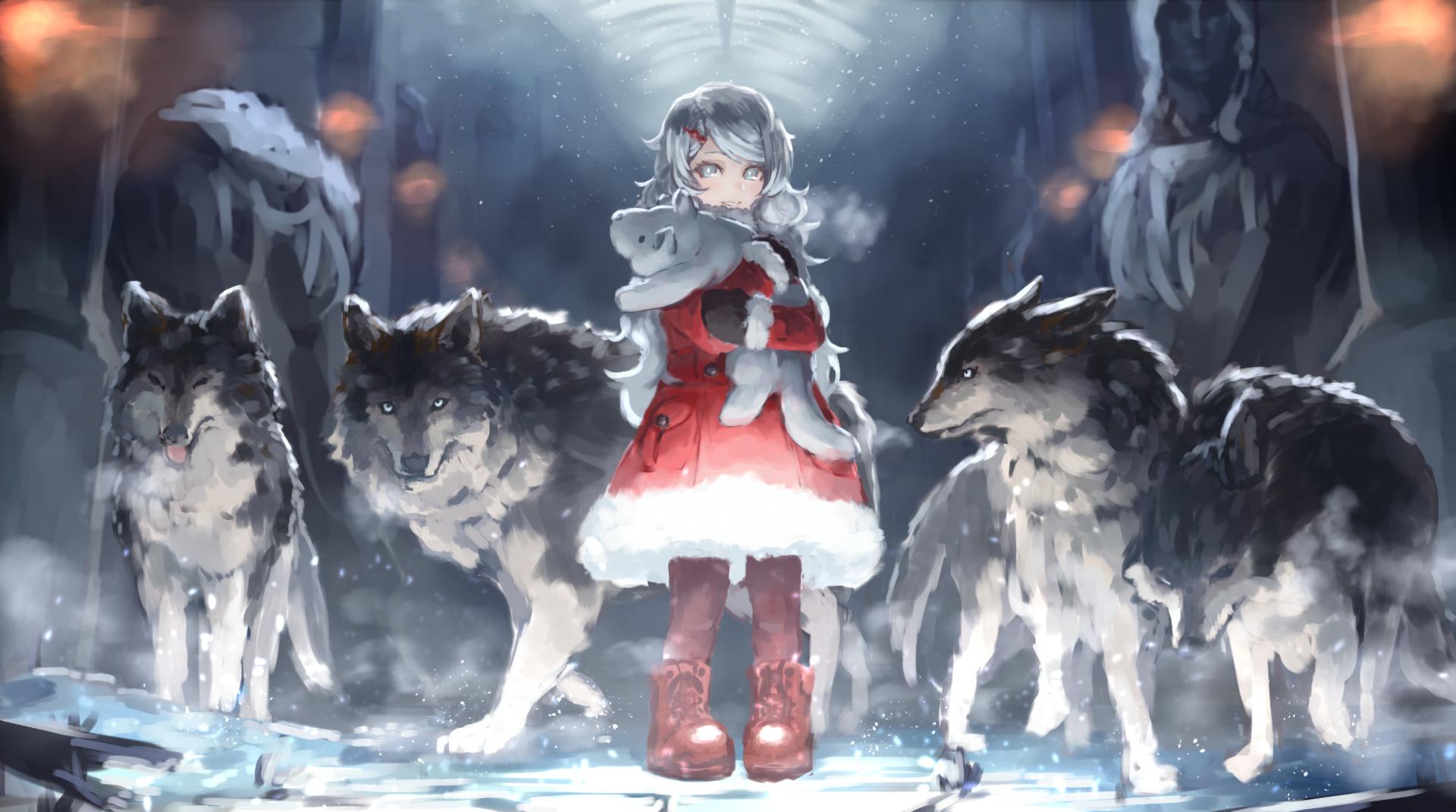 动漫 - 原创  Coat 毛绒玩具 Grey Hair Aqua Eyes Snow 冬季 动物 女孩 狼 壁纸