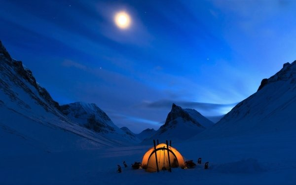 Photography Camping Winter Snow Tent Mountain Moon Night HD Wallpaper | Background Image