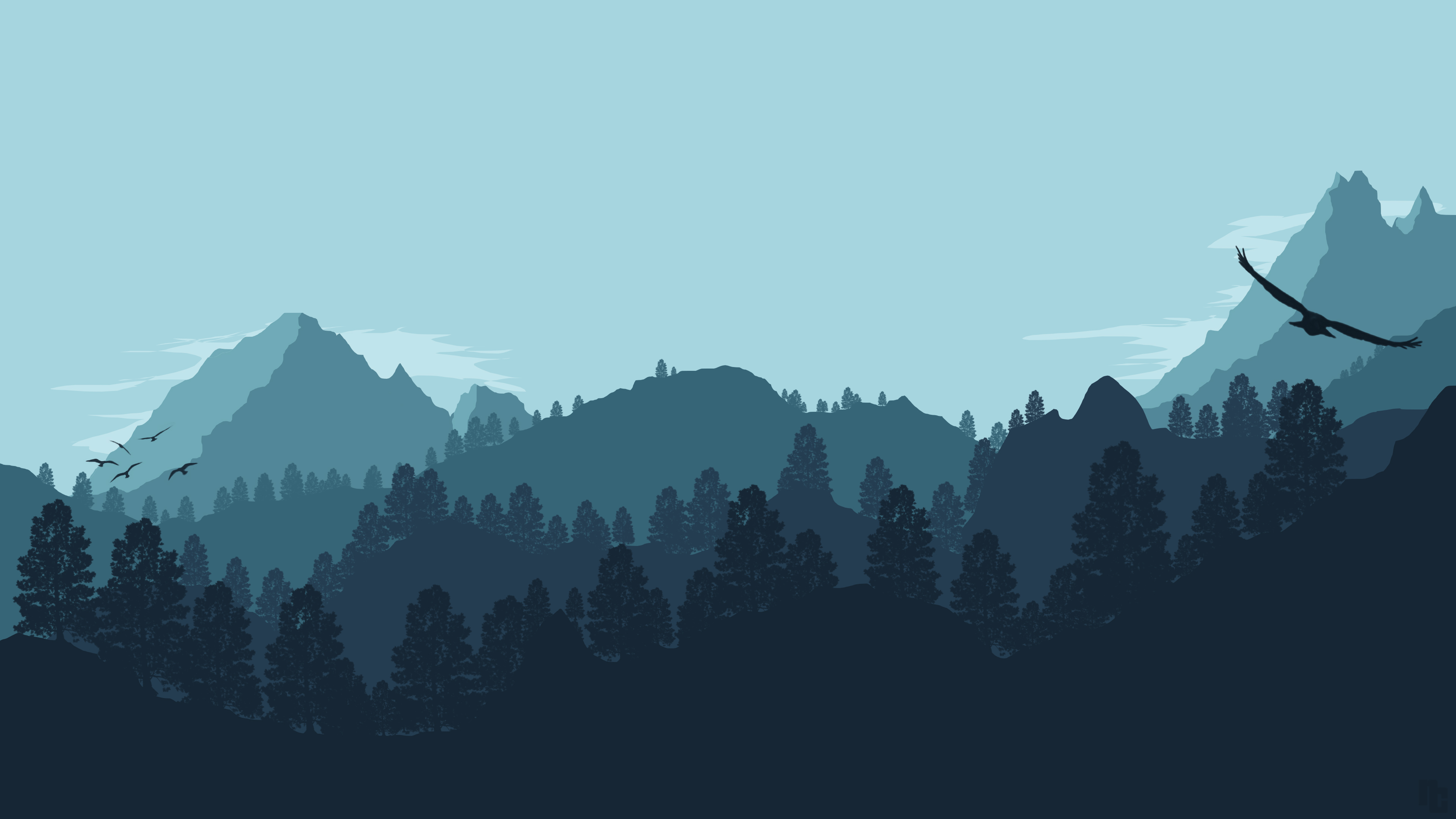 Forest mountain 4k ultra hd wallpaper and background image for Minimal art landscape