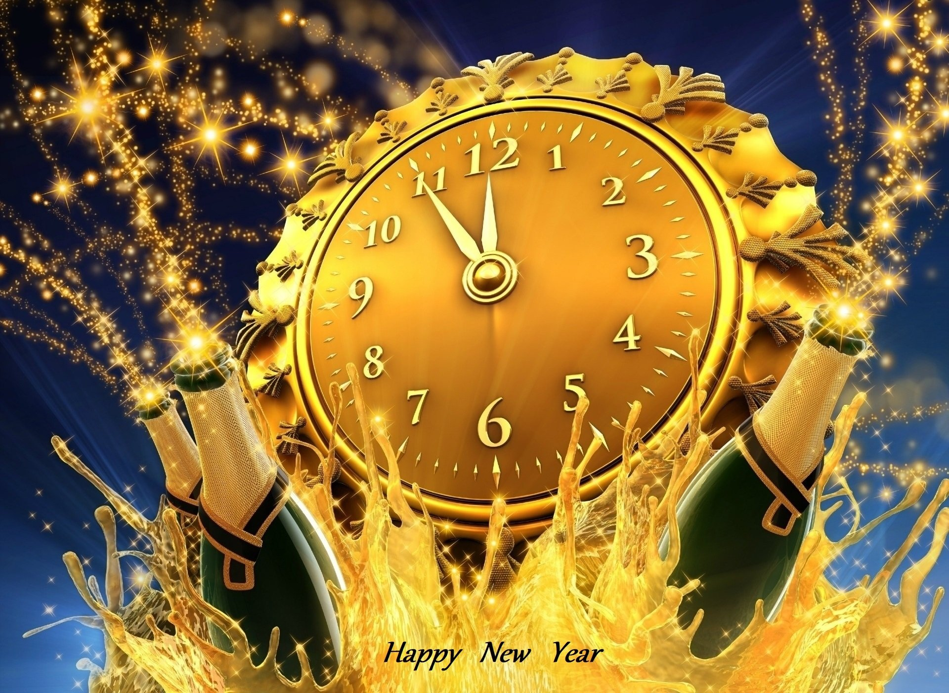 Holiday - New Year  Happy New Year Champagne Clock Golden Wallpaper
