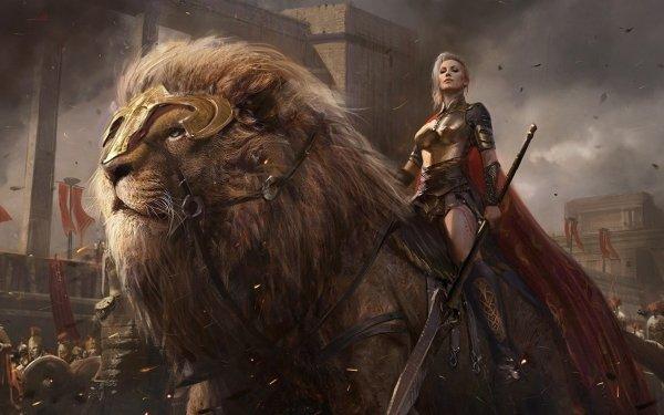 Fantaisie Guerrières Woman Warrior Lion Spear Guerrier Fond d'écran HD | Image