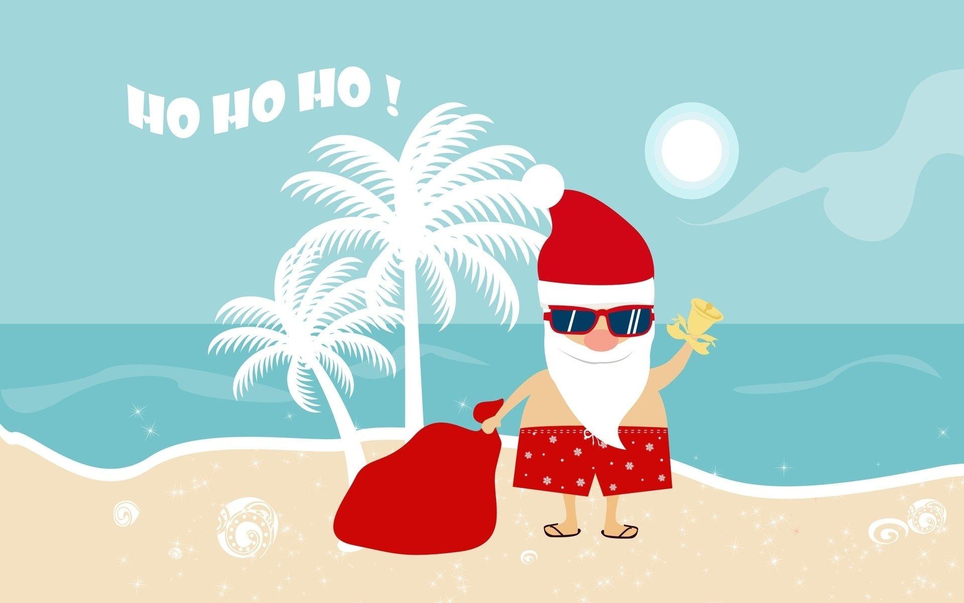 Humor - Christmas  Santa Summer Beach Sand Sunglasses Palm Tree Sea Sun Wallpaper