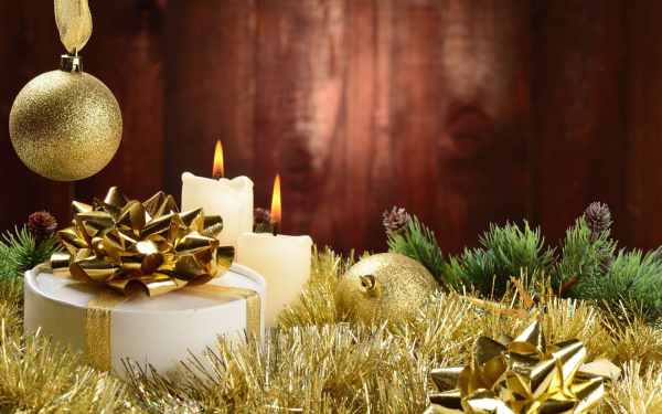 Holiday Christmas Decoration Candle Gift Golden HD Wallpaper | Background Image