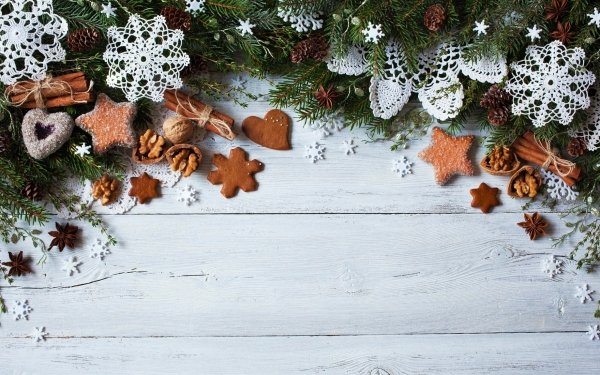 Holiday Christmas Cookie Decoration Snowflake Pine Cone Cinnamon HD Wallpaper   Background Image