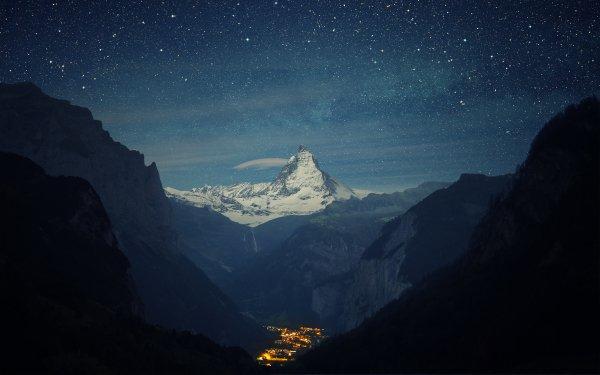 Photography Landscape City Night Mountain Valley Light Starry Sky Peak Matterhorn Switzerland HD Wallpaper | Background Image