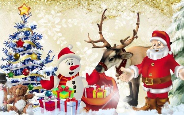 Holiday Christmas Snow Santa Rudolph Reindeer Gift Snowman Tree Teddy Bear HD Wallpaper | Background Image