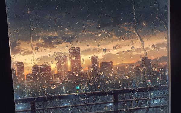 Anime Urbild Window Rain Stad HD Wallpaper | Background Image