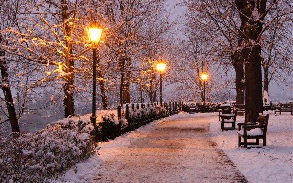 Fotografía Invierno Snow Parque Luz Banco Fondo de pantalla HD   Fondo de Escritorio