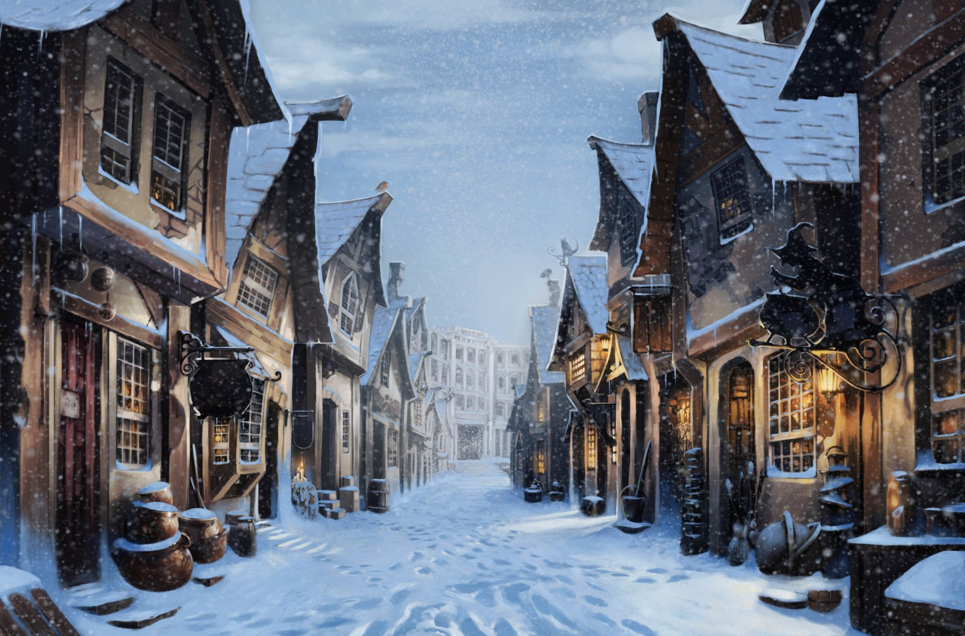 Artistic - Winter  Artistic Harry Potter Movie Diagon Alley House Snow Wallpaper