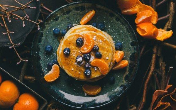 Food Pancake Still Life Fruit Blueberry Mandarin HD Wallpaper | Background Image