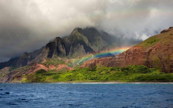 Earth Mountain Mountains Nature Rainbow Sea Vegetation Fog Cloud HD Wallpaper   Background Image