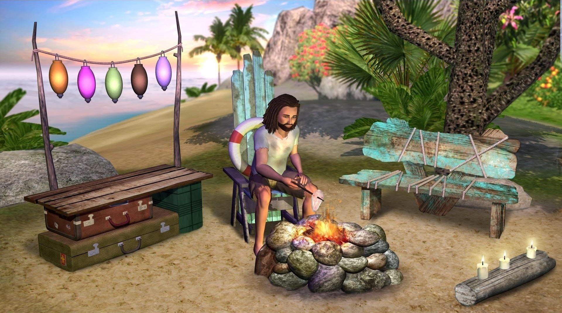 电子游戏 - The Sims 2  The Sims 岛屿 Sea 火 蜡烛 Boy 灯笼 长椅 棕榈 壁纸