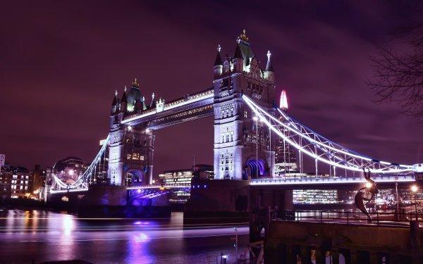 Man Made Tower Bridge Bridges Bridge Building Night London United Kingdom HD Wallpaper | Background Image