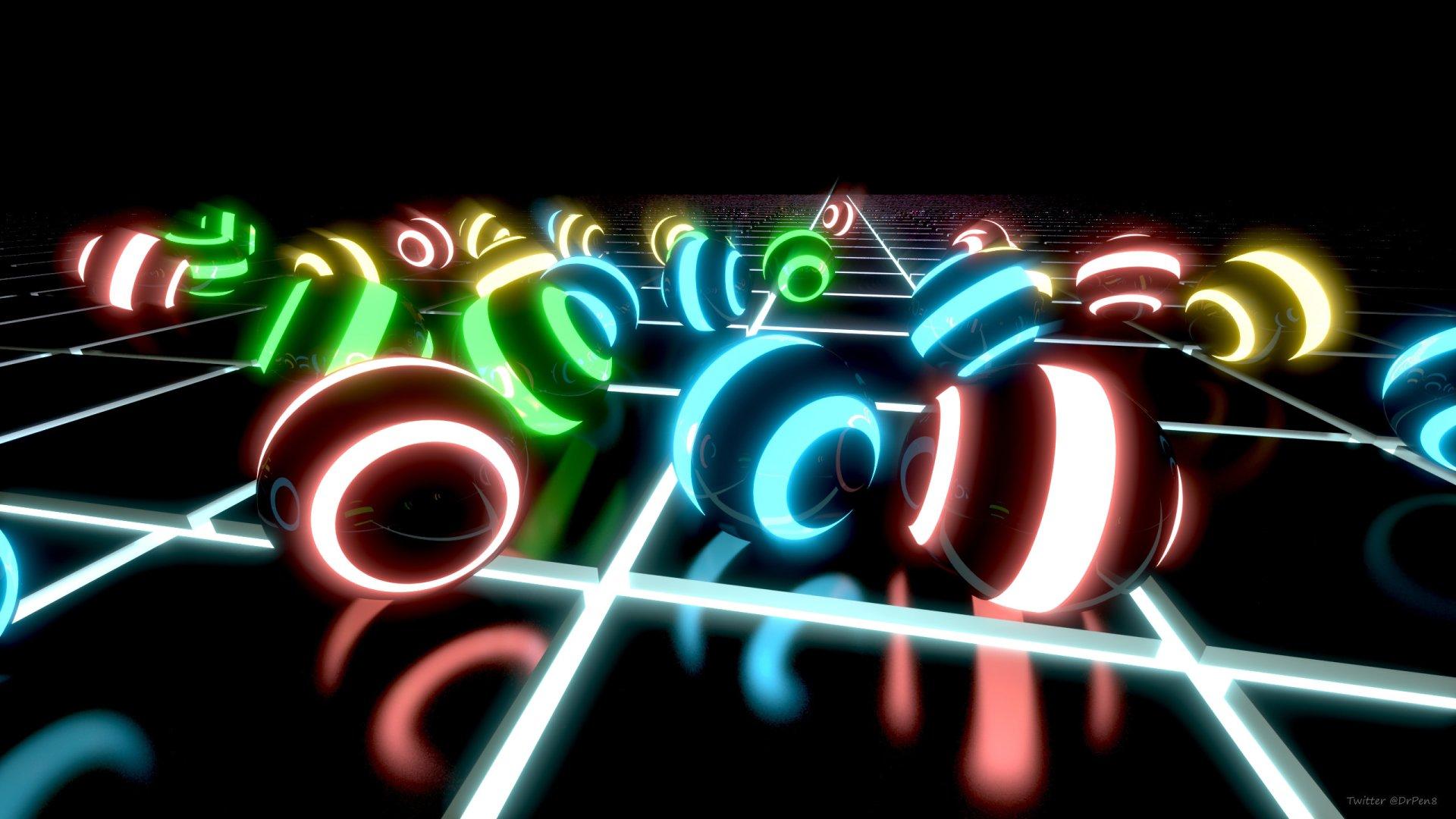 Artistic - Abstract  3D Digital Art Blender 3D Artistic Neon Dark Wallpaper
