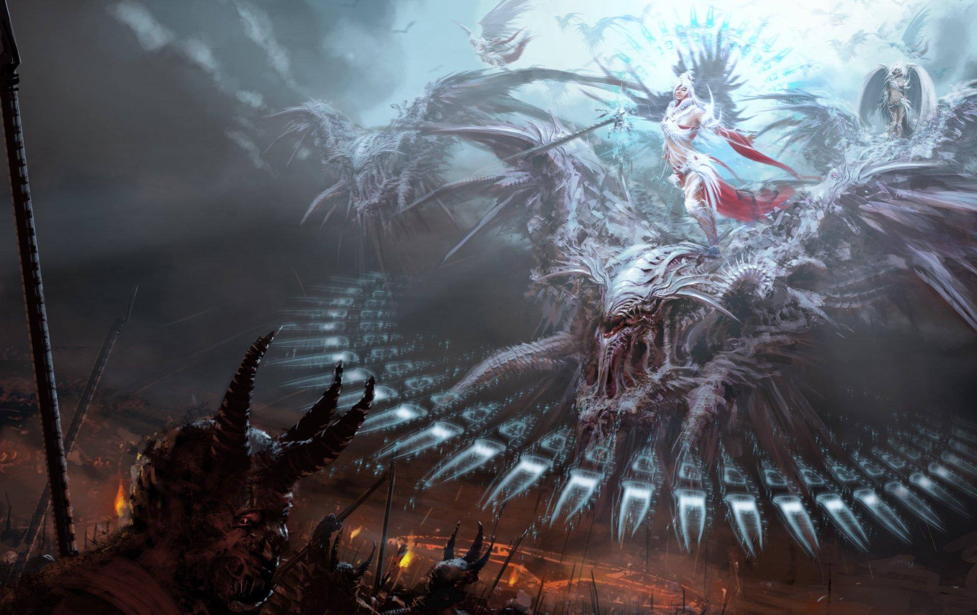 Fantasy - Battle  Fantasy Angel Demon Dark Creature Monster Wallpaper