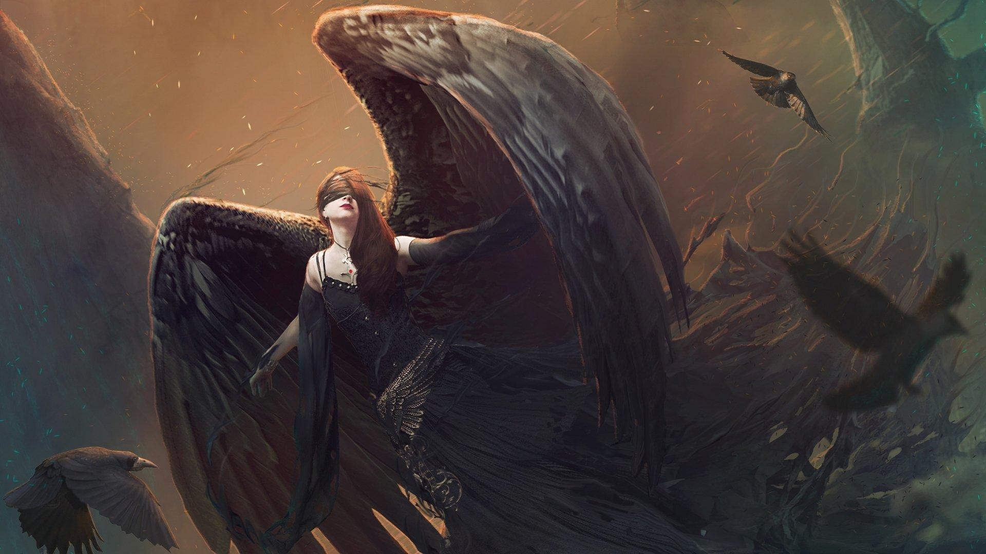 Fantasy - Angel  Bird Woman Fantasy Landscape Dress Black Wallpaper