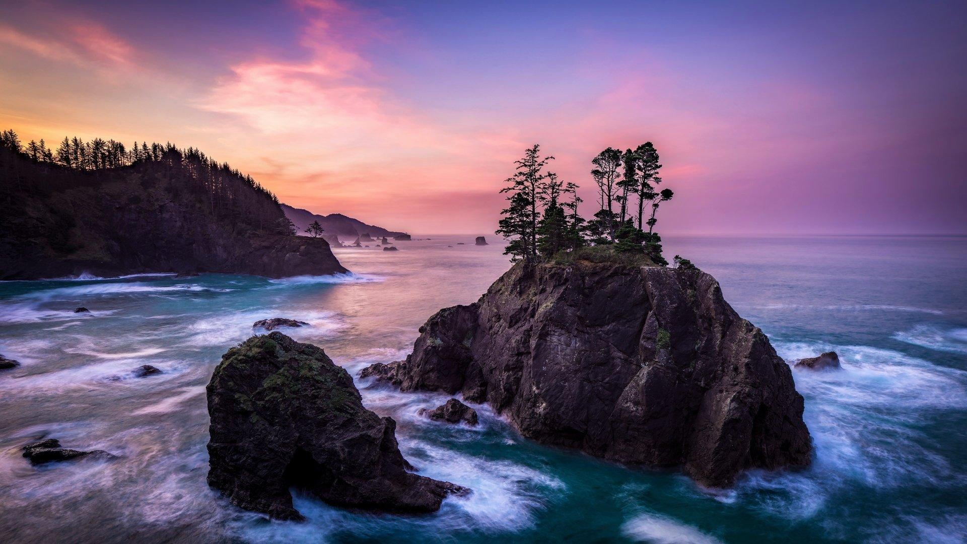 Earth - Ocean  Horizon Earth Sea Rock Tree Sunset Wallpaper