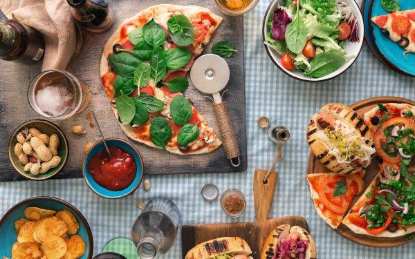 Alimento Bodegón Pizza Ensalada Fondo de pantalla HD | Fondo de Escritorio