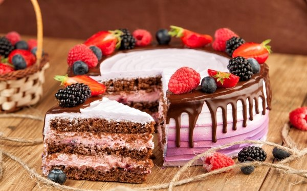 Food Cake Pastry Still Life Fruit Berry Blackberry Raspberry Strawberry Blueberry HD Wallpaper | Background Image