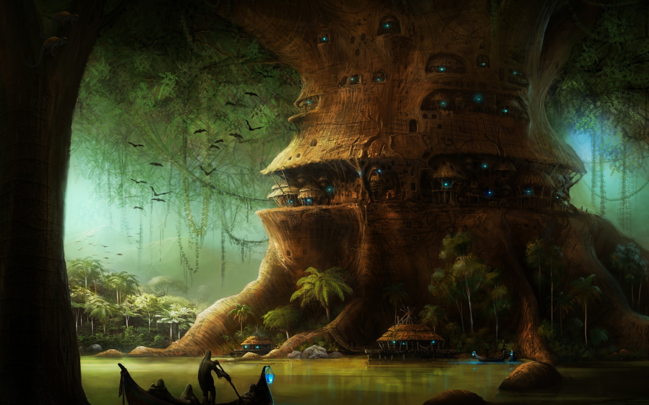 Fantasy - City  Tree Postnuclear Nuclear Fantasy Wallpaper