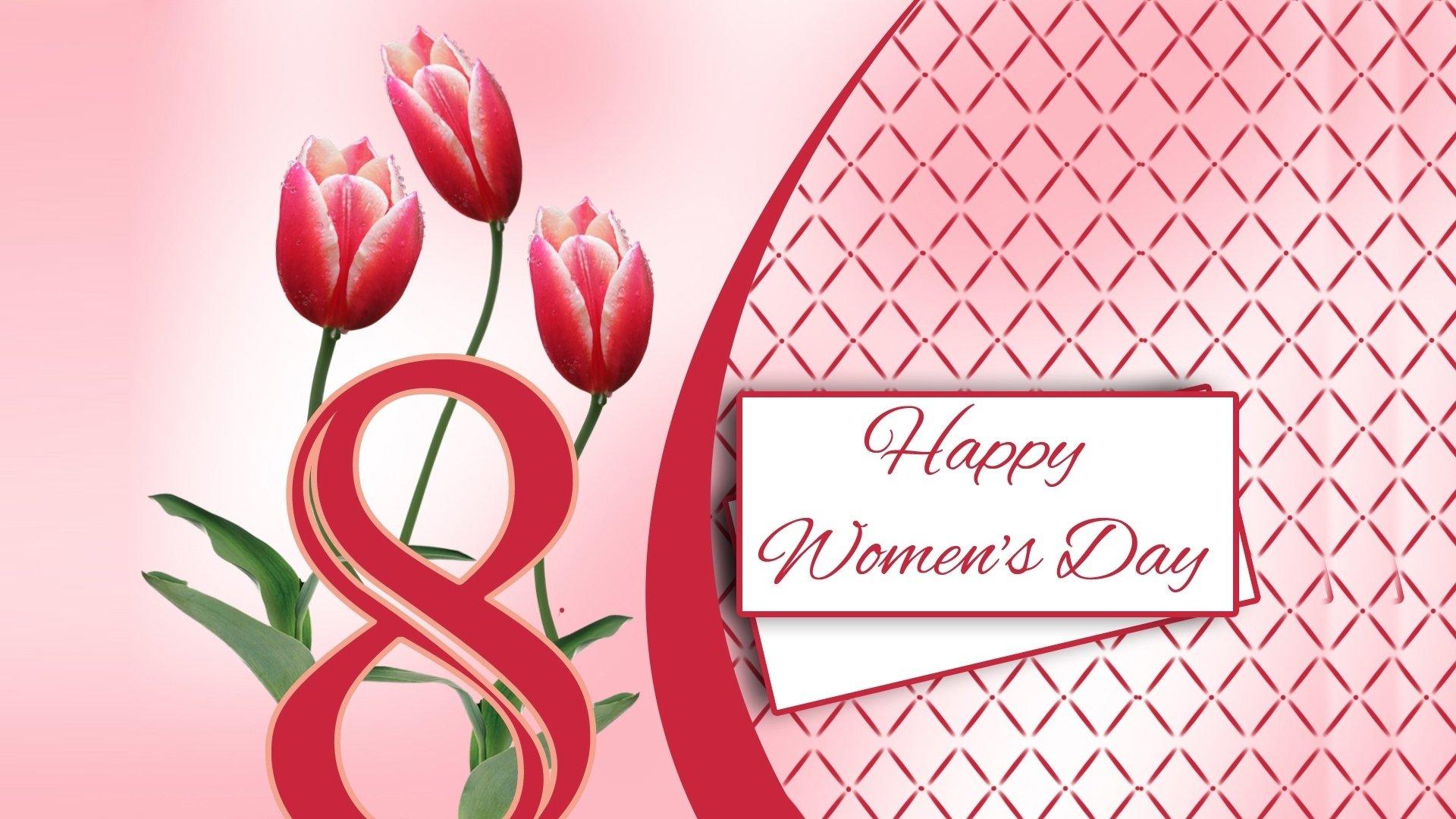 Festività - Festa Della Donna  Happy Women's Day Frasi Eight Tulipano Pink Flower Sfondo