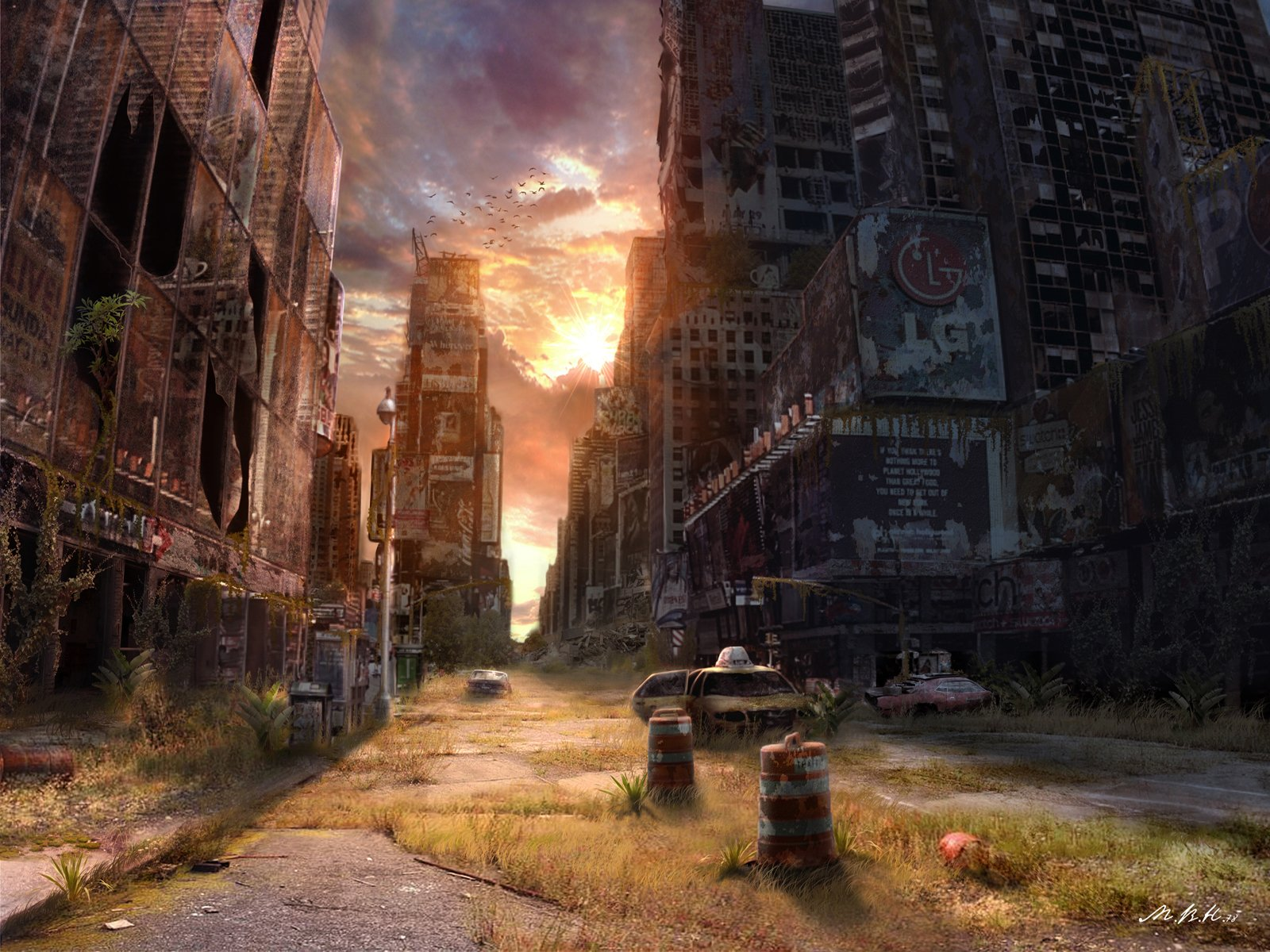 Video Game - Fallout  Post Apocalyptic Vladimir Manyuhina Sci Fi Times Square New York Wallpaper