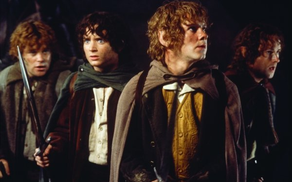 Movie The Lord of the Rings: The Fellowship of the Ring The Lord of the Rings Movies Samwise Gamgee Frodo Baggins Merry Brandybuck Peregrin Took Sean Astin Elijah Wood Dominic Monaghan Billy Boyd HD Wallpaper | Background Image